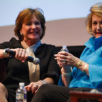 Lydia Sartain and Carole Ann Daniel laugh during a panel during the fifth annual Women's Leadership Colloquium at Brenau University on Friday, March 16, 2018. (AJ Reynolds/Brenau University)