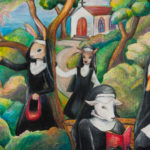 Oil pastel drawing of humanoid creatures with a rabbit, goose, deer and sheep dressed as nuns with a church in the background.