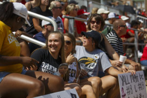 Brenau students enjoy the festivities as Brenau and the University of Georgia softball teams play an exhibition doubleheader at Pacolet Milliken Field at the Ernest Ledford Grindle Athletics Park on Saturday, Sept. 22, 2018. (AJ Reynolds/Brenau University)