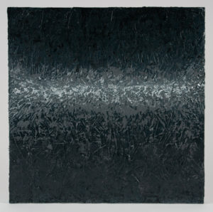 This painting has an impasto texture. The color begins with a black and transitions to grey and light grey in the center. The bottom transitions from dark grey to black.