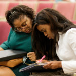 Gloria Clark and Cierra Franklin during the 16th annual Brenau University Mock Mediation Invitational tournament. (AJ Reynolds/Brenau University)