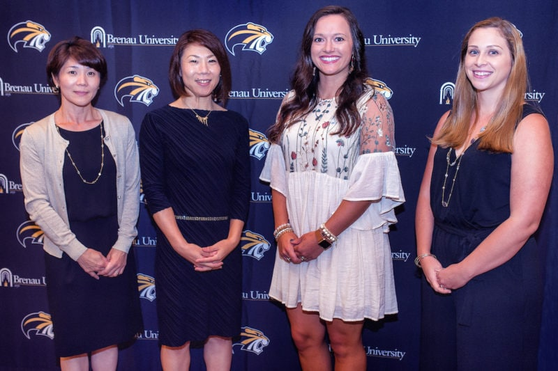 Brenau University Athletics Hall of Fame indutees (L to R) Ayako Noda-Horie, Maiko Noda-Hashimoto, Tifanny Schandera-Sanders, Hannah Boudreaux-Vollenweider. (Photos by Scott Rogers for Brenau University)