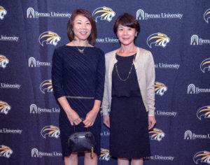 Maiko Noda-Hashimoto, left, Brenau tennis player from 1996-1999, and her sister Ayako Noda-Horie, Brenau tennis player from 1993-1997.