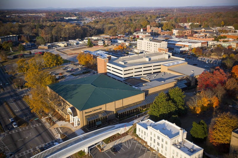 Aerial view of the Jesse Jewell side of the Brenau University Downtown Center