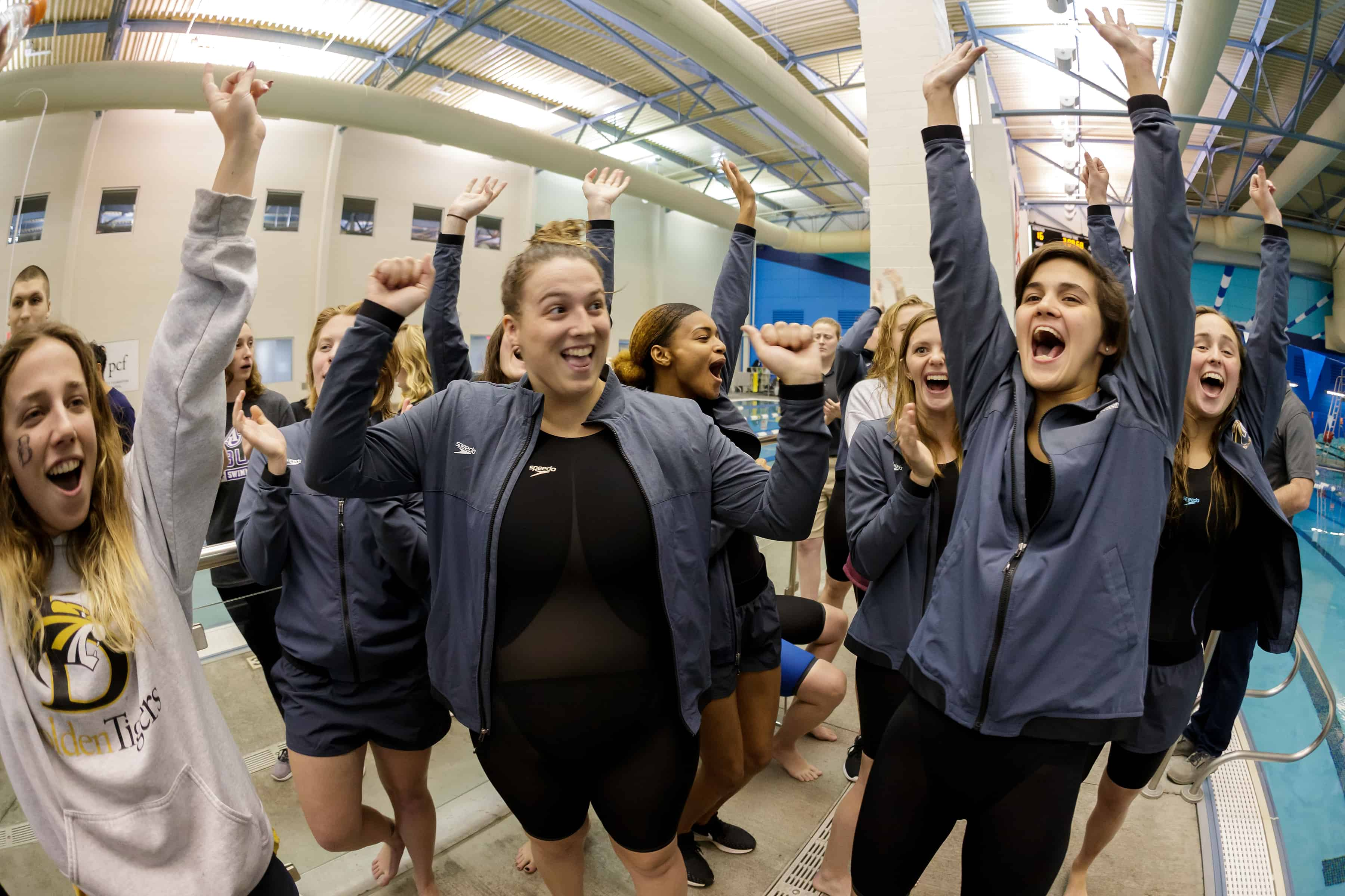 Brenau swimmers celebrate after winning the Appalachian Athletic Conference Swimming & Diving Championship Meet on Saturday, Feb. 9, 2019 in Kingsport, Tenn. Brenau won the meet and are Appalachian Athletic Conference Champions for the second straight year. (AJ Reynolds/Brenau University)
