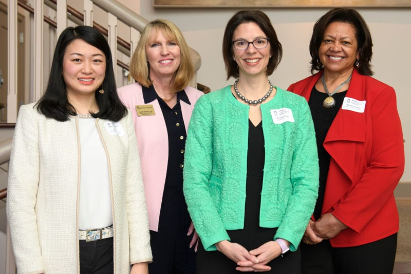 From left: Brenau Alumni Association Endowed Speaker Qing Cao, Dean of The Women's College Debra Dobkins, Colloquium Keynote Speaker Kim Powell and Women's College Coalition President Michele Ozumba. (AJ Reynolds/Brenau University)