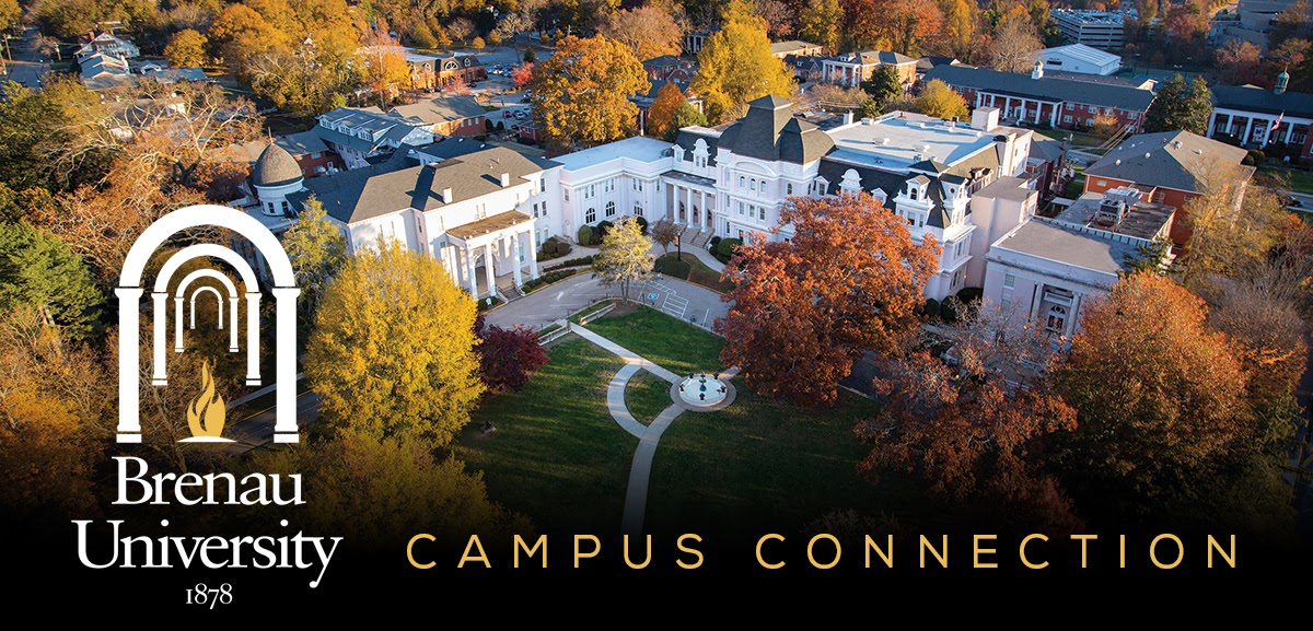 "Aerial view of campus with logo and ""Campus Connection"""