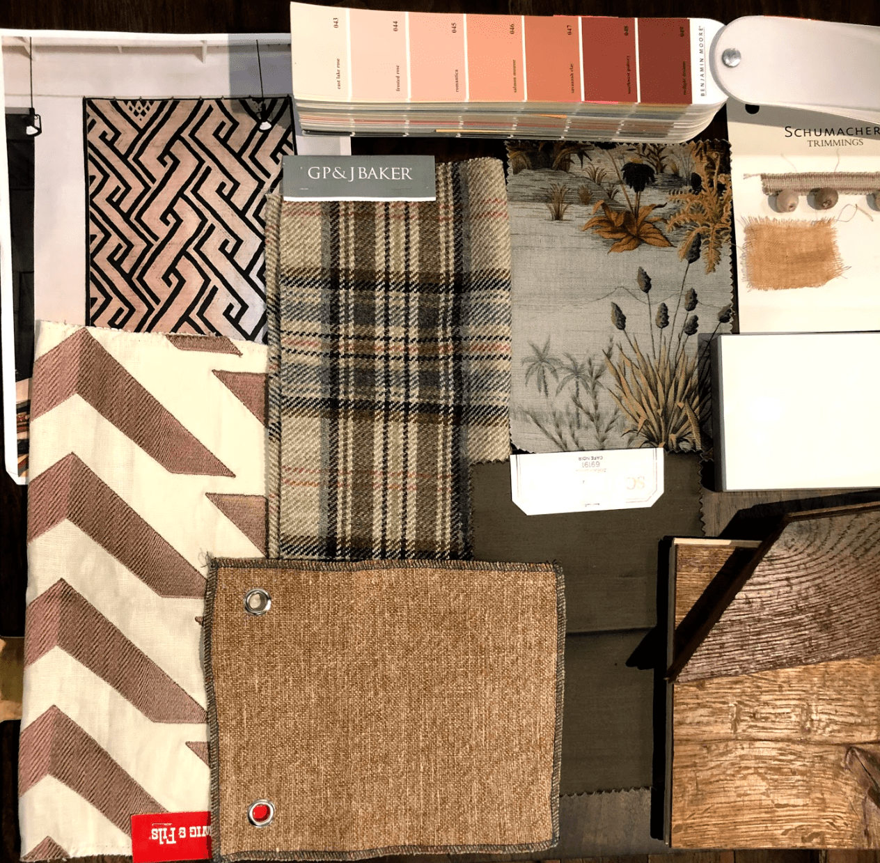 Concept Board with fabric swatches